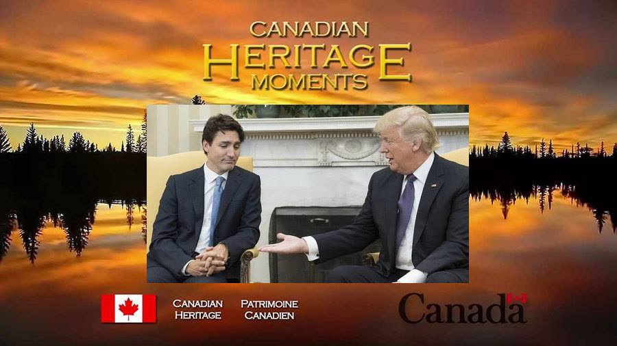 canadian heritage moments, trudeau staring at trump's hand with disdain