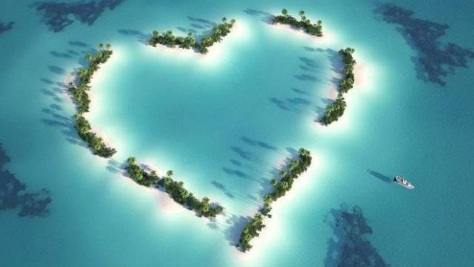 valentine's day island, heart shaped caribbean ocean islands