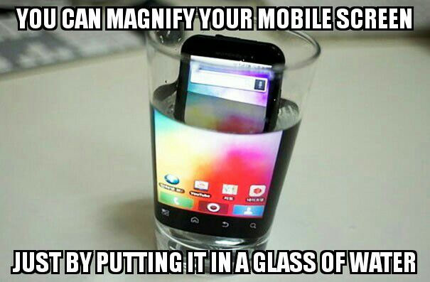 you can magnify your mobile screen, just put it in a glass of water