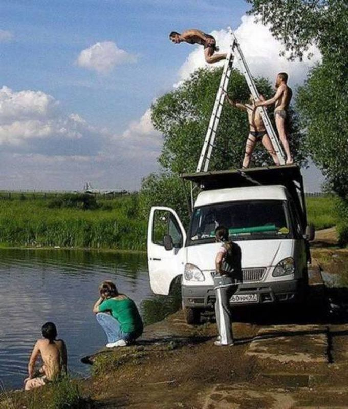 jumping from a ladder from a van into the water, fun is easy