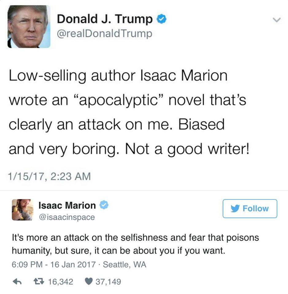 low selling author isaac marion wrote an apocalyptic novel that's clearly an attack on me, biased and very boring, it's more an attack on the selfishness and fear that poisons humanity, but sure it can be about you if you want