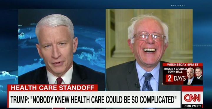 nobody knew health care could be so complicated, trump is an idiot, bernie sanders laughing at trump