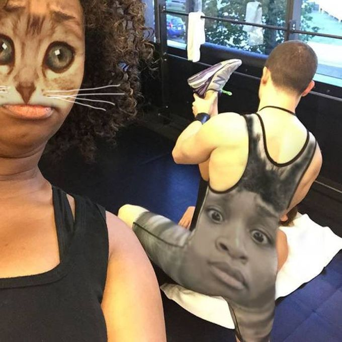 face swap goes wrong at gym