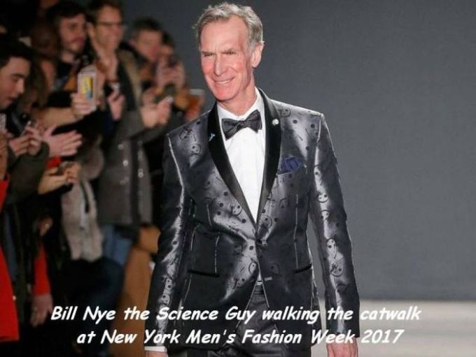 bill nye the science guy walking the catwalk at new york men's fashion week 2017