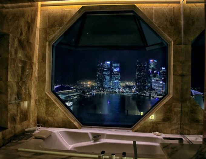 beautiful city skyline view from the bathtub