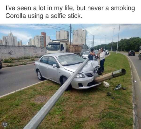 i've seen a lot in my life, but never a smoking corolla using a selfie stick