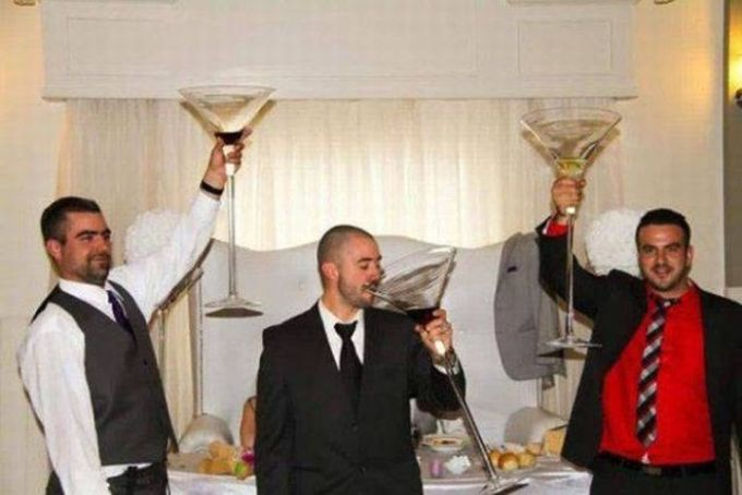 three guys with giant martini glasses