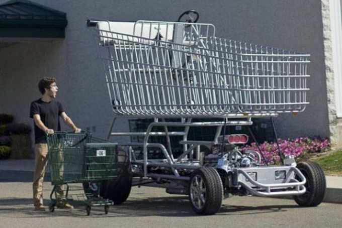when people overcompensate, giant motorized shopping cart