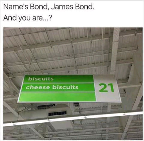 name's bond, james bond, biscuits, cheese biscuits