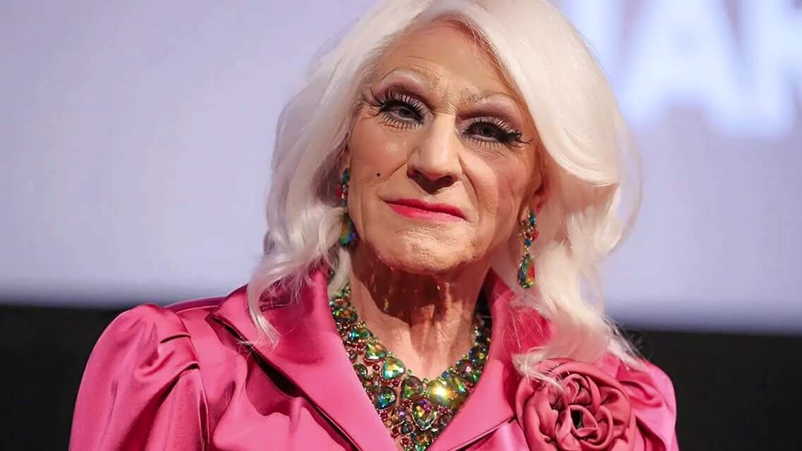 sir patrick stewart cosplaying as kellyanne conway, he's actually just dressed in drag, but the resemblance is uncanny