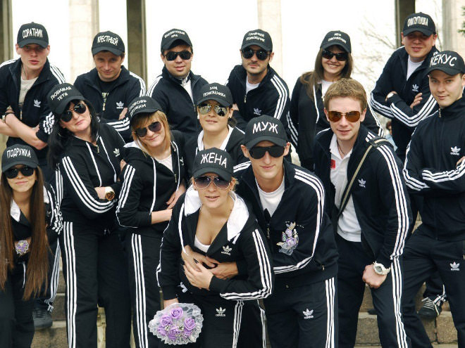 guess which country, wedding party all dressed in adidas
