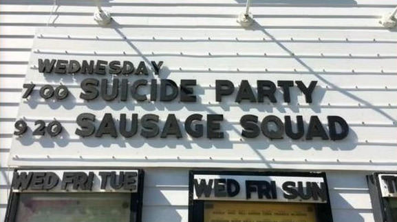 suicide party, sausage squad, movie title mix up