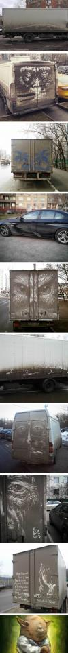 dirty car owners find their cars vandalized with amazing drawings, street art