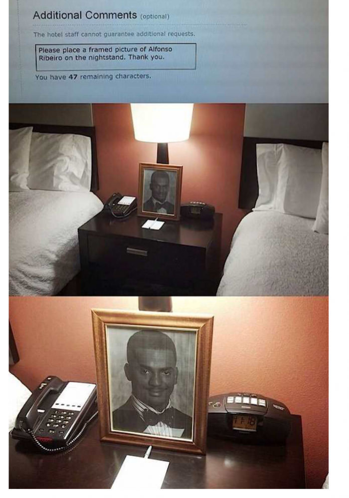 best hotel staff ever, please place a framed picture of alfonso ribeiro on the nightstand