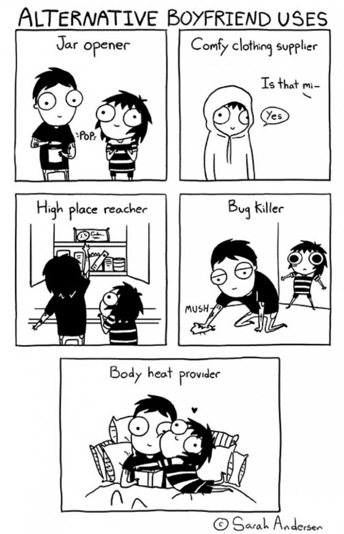 alternative boyfriend uses, jar opener, comfy clothing supplier, high place reacher, bug killer, body heat provider, comic