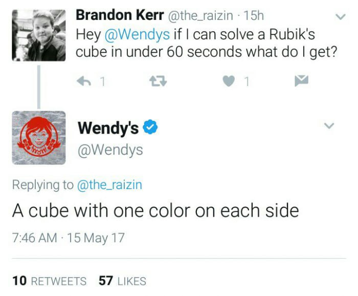 hey wendys if i can solve a rubies' cube in under 60 seconds what do i get?, a cube with one color on each side