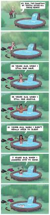 with my luck i'd drown as a baby in the fountain of youth, comic