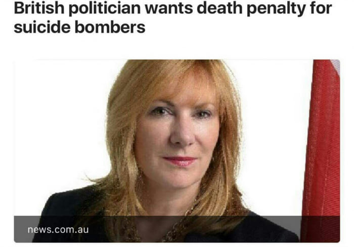 british politician wants death penalty for suicide bombers