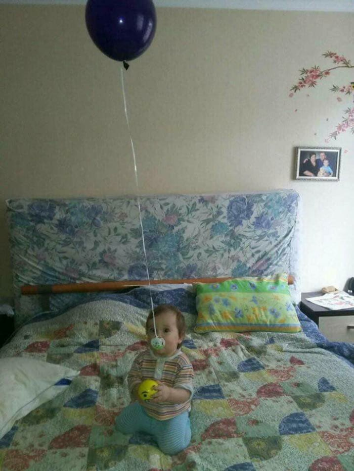 her pacifier kept falling on the ground and getting dirty, helium balloon tied to baby's pacifier