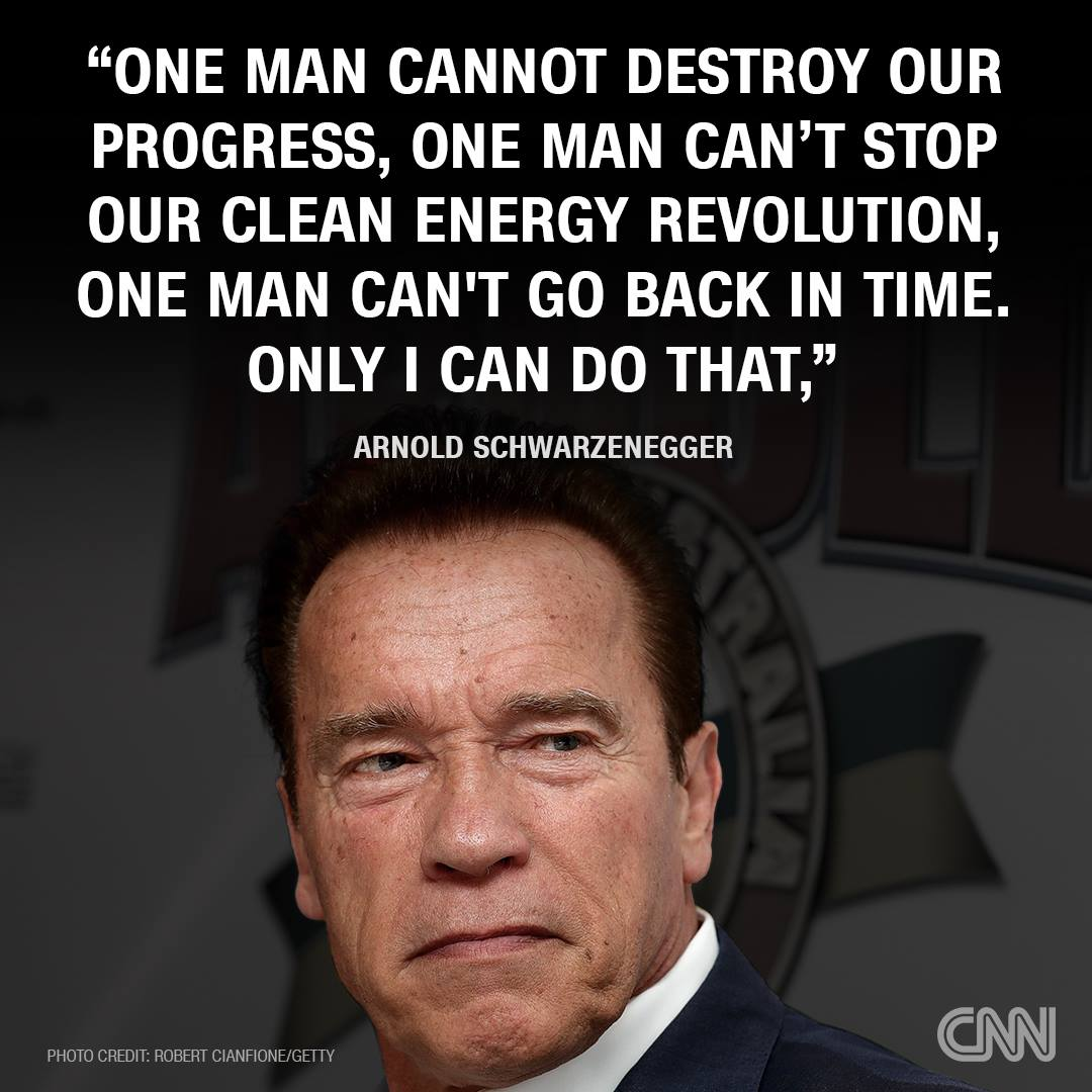 one man cannot destroy our progress, one man can't stop our clean energy revolution, one man can't go back in time, only i can do that