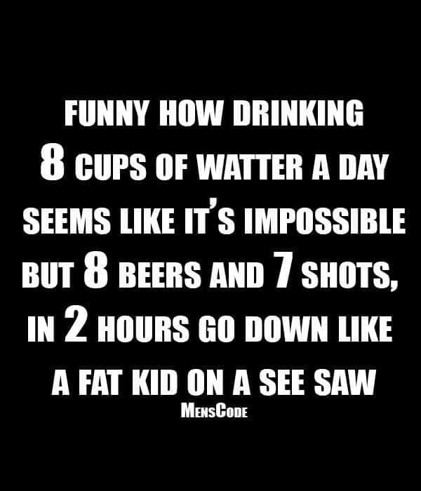 funny how drinking 8 cups of water a day seems like it's impossible, but 8 beers and 7 shots, in 2 hours go down like a fat kid on a see saw