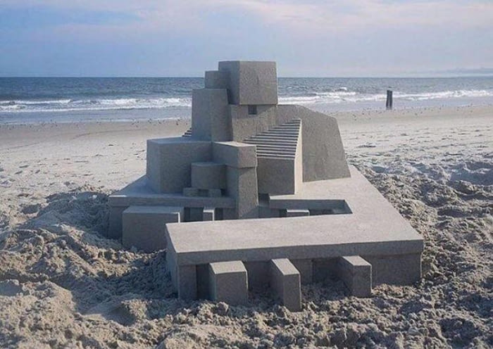 perfect angle sand castle, ocd fun at the beach