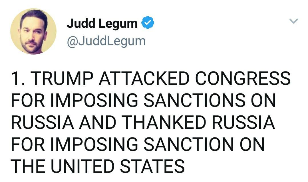 tump attacked congress for imposing sanctions on russia and thanked russia for imposing sanctions on the united states