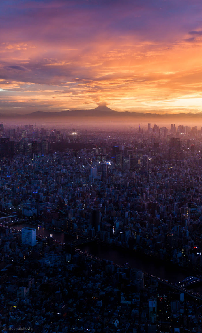 the sunrise over tokyo, beautiful scenery