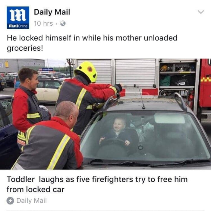 toddler locked himself in while his mother unloaded groveries, kid laughs as firemen try to free him from locked car