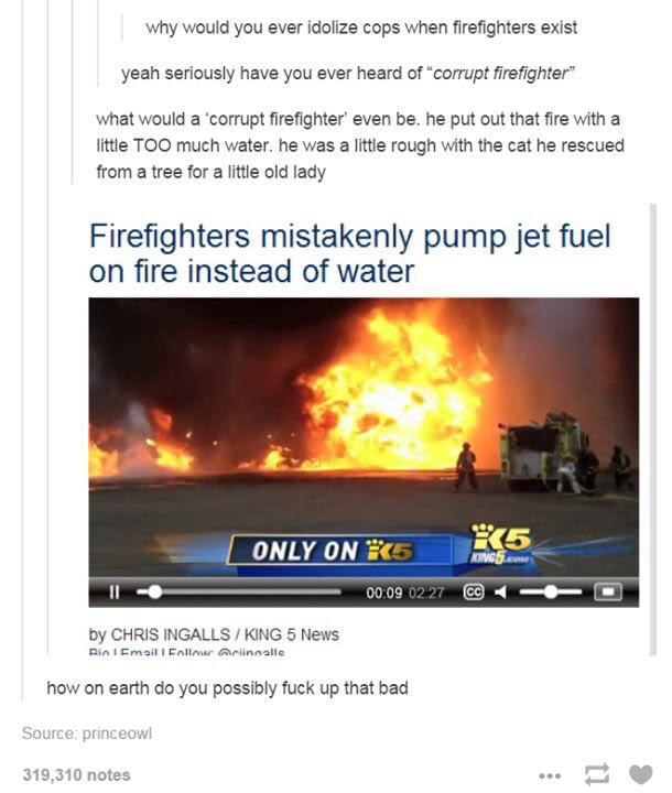 firefighters mistakenly pump jet fuel on fire instead of water