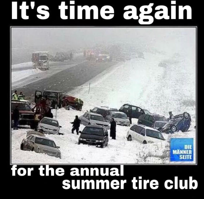it's time again for the annual summer tire club, car pile up in snow