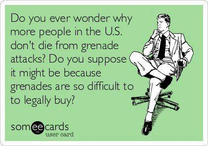 do you ever wonder why more people in the us don't die from grenade attacks?, do you suppose it might be because grenades are so difficult to legally buy?, ecard