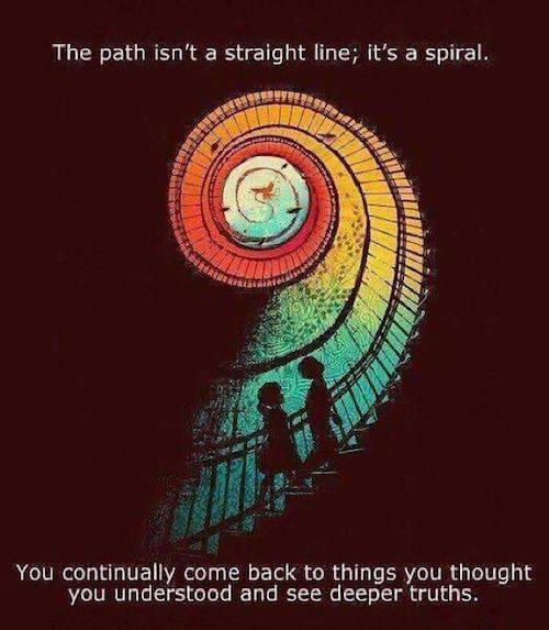 the path isn't a straight line, it's a spiral, you continually come back to things you think you understood and see deeper truths