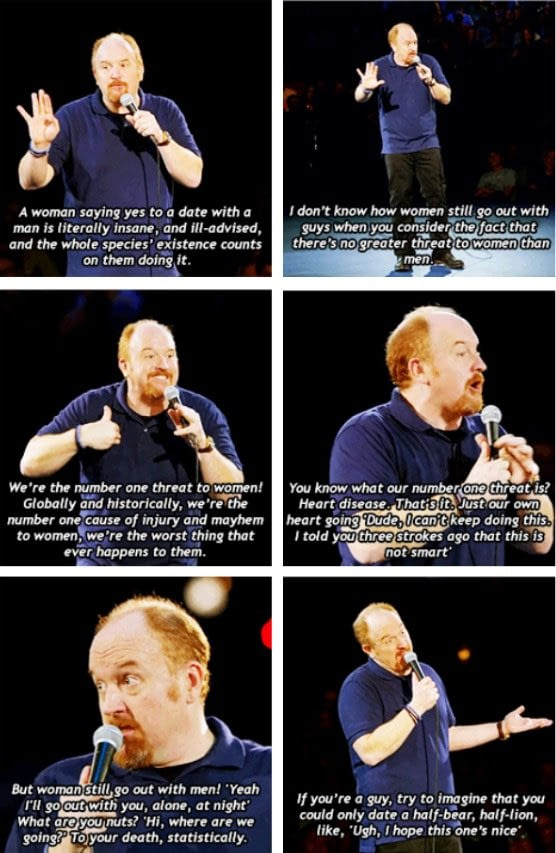 louis ck on dating men, a woman saying yes to a date with a man is literally insane, and ill advised, and the whole species' existence counts on them doing it