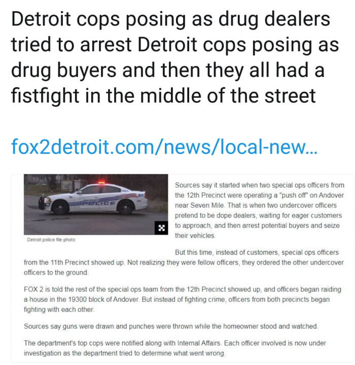 detroit cops posing as drug dealers tried to arrest detroit cops posing as drug buyers and then they all had a fistfight in the middle of the street
