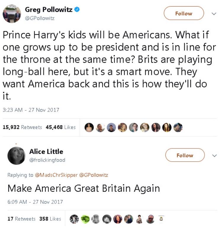 prince harry's kids will be americans, what if one grows up to be president and is in line for the throne at the same time?, brits are playing long ball here, they want america back, make america great britain again