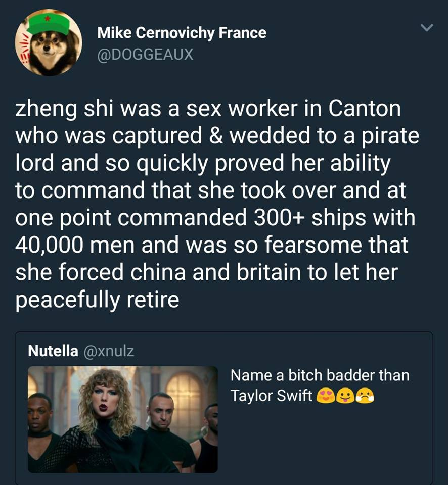 zheng shi was a sex worker in canton who was captured and wedded to a pirate lord and so quickly proved her ability to command that she took over and commanded 300+ ships and 40000 men
