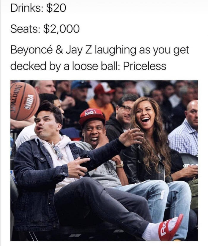 beyonce and jay z laughing as you get decked by a loose ball, priceless