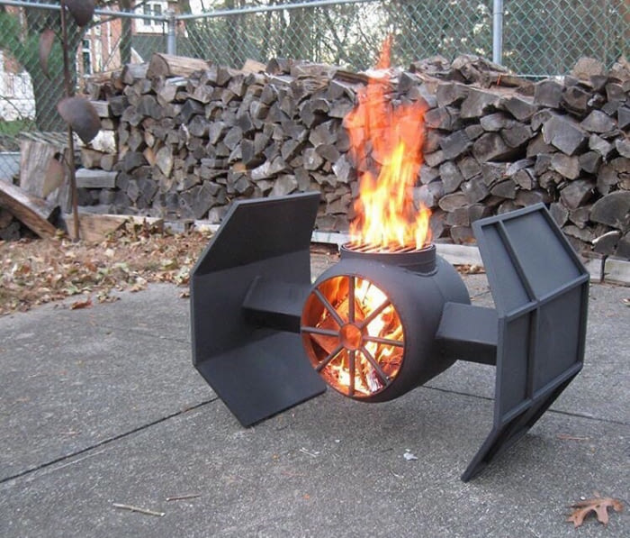 tie fighter fire pit, star wars at home