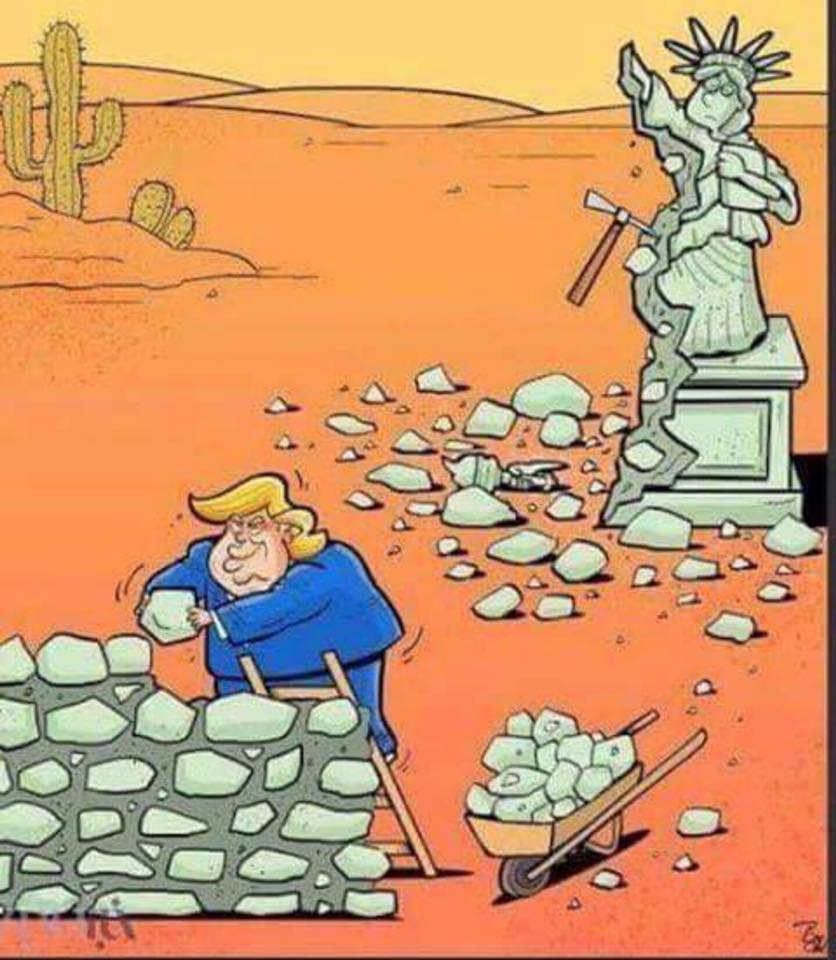 the cost of trump's wall, statue of liberty dismantling