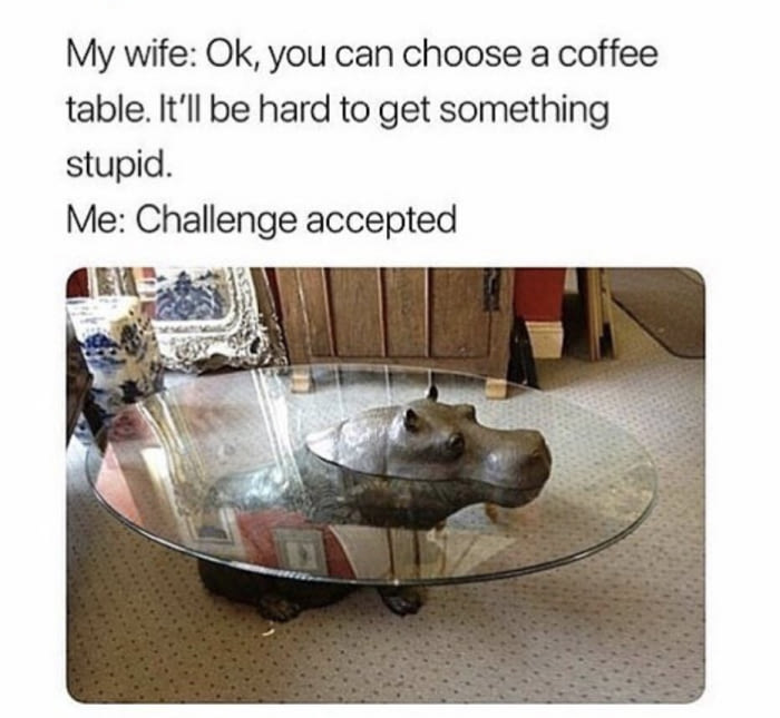 ok you can choose a coffee table, it'll be hard to get something stupid, hippopotamus