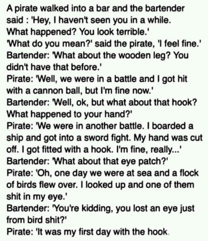 a pirate walked into a bar and the bartender said, joke