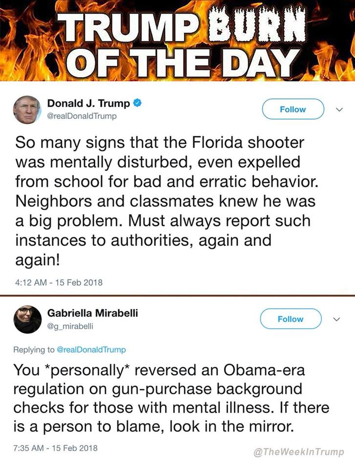 trump gets own on twitter again for his role in the florida shooting