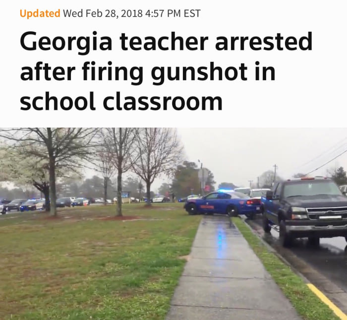 georgia teacher arrested after firing gunshot in school classroom, fail