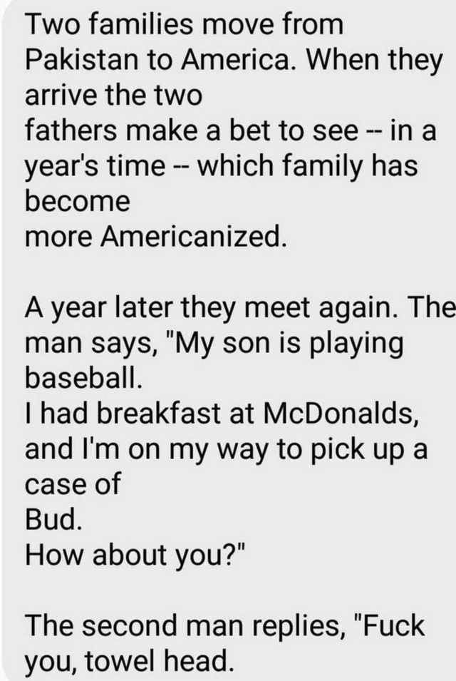 two families move from pakistan to america, when they arrived the two others make a bet to see which family has become more americanized, a year later they meet again, my son is playing baseball, fuck you towel head