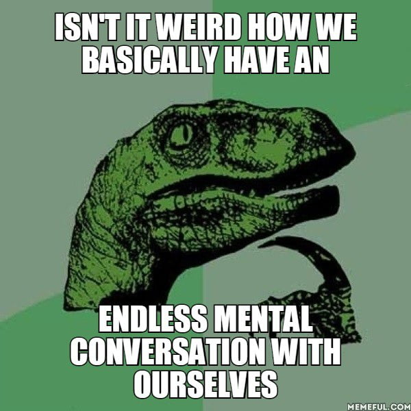 isn't it weird how we basically have an endless mental conversation with ourselves, philoceraptor, meme