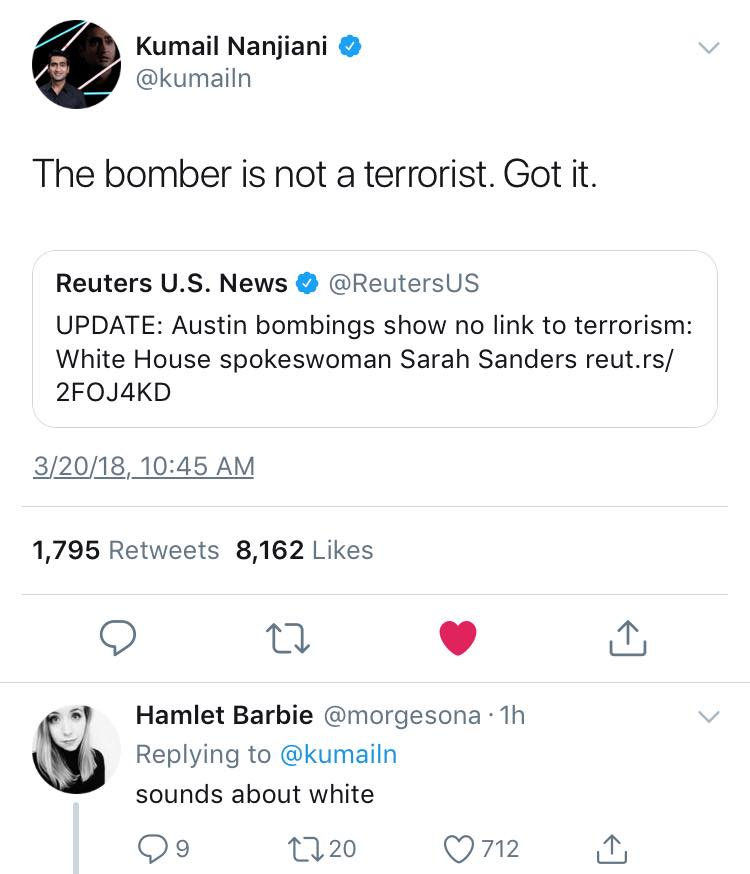 the bomber is not a terrorist, sounds about white