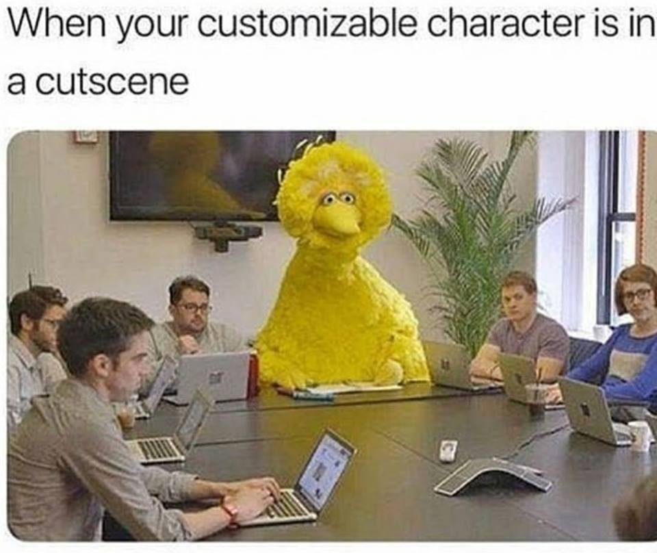 when your customizable character is in a cut scene, big bird at a board meeting