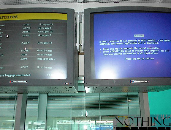 blue screen of death at the airport
