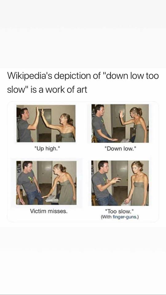 wikipedia's depiction of down low too slow is a work of art